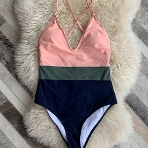 Cupshe Swim Colorblock One Piece Swimsuit